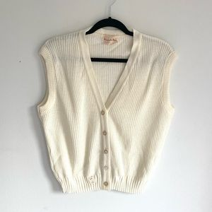 NWT vintage dead stock cream knit sweater vest
